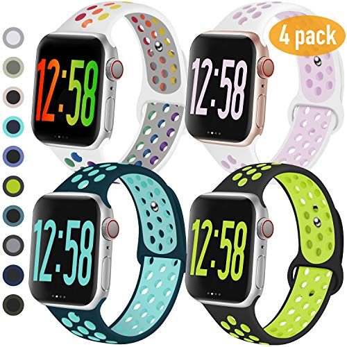 GZ GZHISY 4 Pack Sport Bands Compatible for Apple Watch Band 38mm 40mm 42mm 44mm, Breathable Soft Silicone Band Replacement Wristband Men Women Compatible with iWatch Series 5/4/3/2/1 (B, 38SM)