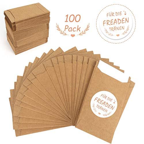 HOWAF 100 Mini Geschenktüten Freudentränen Geschenktüten braune Papiertüten Tüten Geschenk-Verpackung für Hochzeit Vintage Deko Freudentränen Taschentücher Schmuck