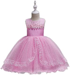 Summer Sleeveless Tutu Girl Dress for 2-12 Years Children's Wear - Solid Color Princess Dress (Color : Pink, Size : 130cm)