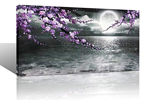 Large Purple Wall Art Decor for Living Room Bedroom Framed Black and White Seascape Full Moon Purple Flower Painting Canvas Picture Modern Hand-Painted Plum Blossom Artwork for Home Office 24x48