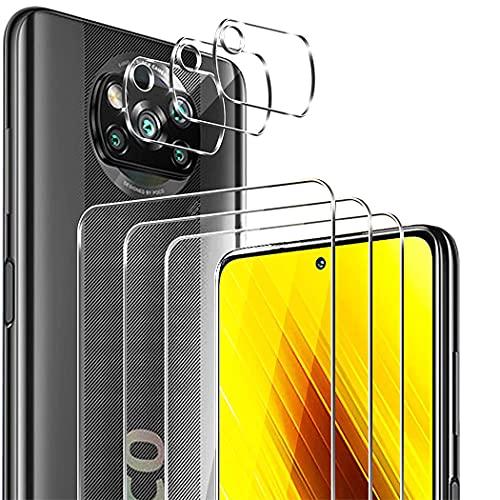 GOMAN 3 Pack Protector Pantalla para Xiaomi Poco X3 Pro/Poco X3 NFC + [3 Pack] Protector de Lente de cámara, Cristal Templado de HD, Anti-Arañazos, Sin Burbujas, Cobertura máxima