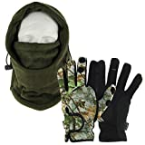 DNA Cold Weather Carp Fishing Fleece Lined OD Green Adjustable Snood with Gloves (Medium, Large or Extra Large - You Pick) (Medium Gloves)