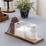 MyGift Acrylic Coffee & Tea Station Organizer with Wood Tray