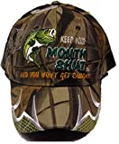 Keep Your Mouth Shut and You Wont GET Caught CAMO BASS Fishing HAT Funny Baseball Cap