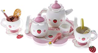 BAOBLADE Kids Kitchen Food Pretend Play Strawberry Tea Set Dollhouse Play Activity