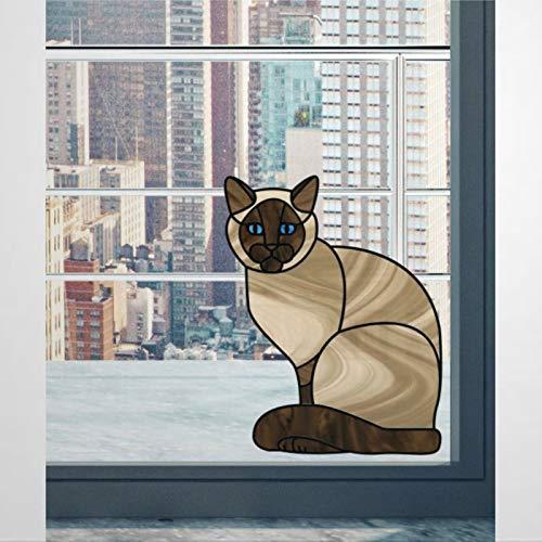 Calcomanía de vinilo con diseño de gato con texto en inglés 'See through' para ventanas y colores de cristal