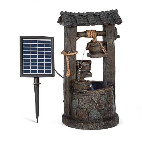 blumfeldt Speyer Fuente Solar en Cascada - Energía Solar, 2,8 Vatios, Batería de Iones de Litio, 5 Horas de Funcionamiento, Interiores/Exteriores, 4 Niveles Cascada, Iluminación LED, Poliresina
