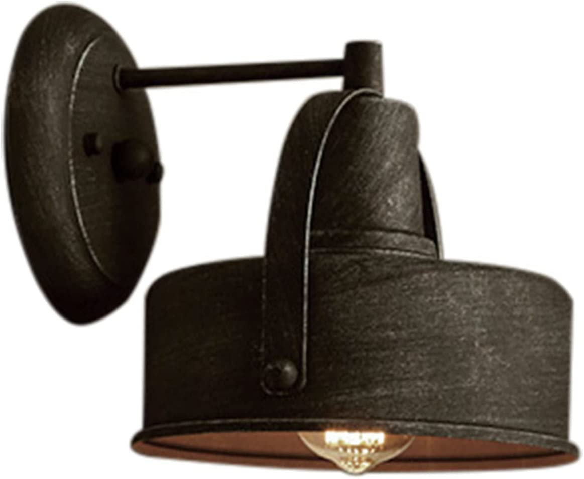 Retro Selling rankings Simple Iron Plated Quantity limited Wall Patio Light Black Round