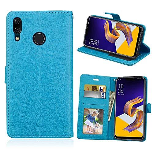 Asus Zenfone 5 2018 Hülle, SATURCASE Glatt PU Lederhülle Magnetverschluss Brieftasche Standfunktion Handy Tasche Schutzhülle Handyhülle Hülle für Asus Zenfone 5 ZE620KL/Zenfone 5z ZS620KL (Blau)