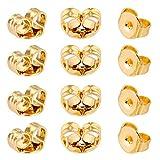AIEX 12 Piezas/6 Pares Cierre de Oreja Seguro de Reemplazo de Oro de 14k para Pendientes Fabricación de Joyas (6×5mm)
