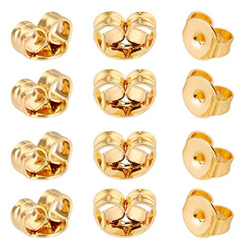 AIEX 12stk 14k Gold Ohrring Stopper Ohrstopper Ohrstecker Schmetterling Verschlüsse Universal Größe für Ohrstecker Schmuckherstellung (6×5mm)