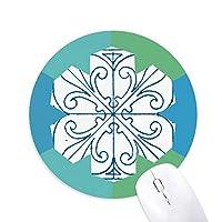 ブルー・タラベラスタイルの装飾的なパターン 円形滑りゴムの雪マウスパッド
