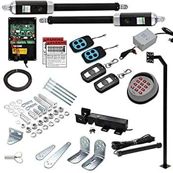 18 Ft Dual Automatic Swing Gate Openers  USA Based Seller  Heavy Duty 18 Feet or 1700+ Pounds ETL Listed IP56  2 Remotes Exit Wand Wireless Keypad+Pole AC/DC Converter - No Batteries Required