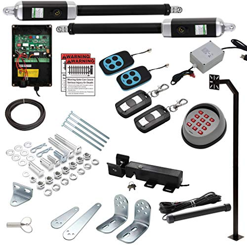 18 Ft. Dual Automatic Swing Gate Openers (USA Based Seller) Heavy Duty 18 Feet or 1700+ Pounds ETL Listed IP56 (2 Remotes, Exit Wand, Wireless Keypad+Pole, AC/DC Converter - No Batteries Required)