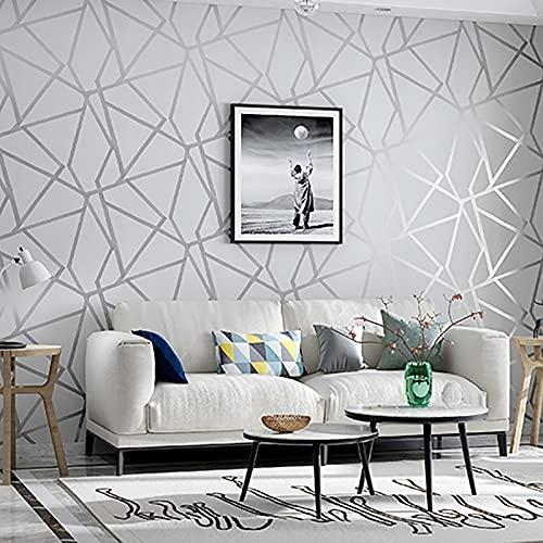 HFSKJ Papel Tapiz geométrico 3D para diseño Moderno a Rayas, triángulos, para Dormitorio y Sala de Estar decoración del hogar