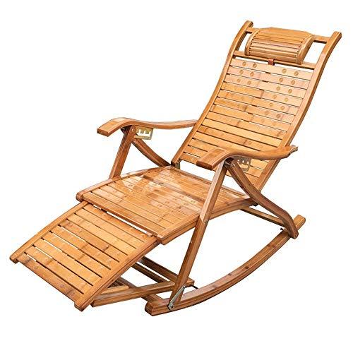 YLCJ Klappbare Schaukelstühle aus Holz aus Bambus Lehnstuhl Liegestuhl für Nickerchen Roadtrip Rocker für den Außenbereich Garten Deck Strandkorb
