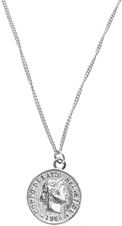 Carved Coin Pendant Necklace for Women Girls Men 925 Sterling Silver 18K White Gold Plated Simple Round Chain GoddessWors...