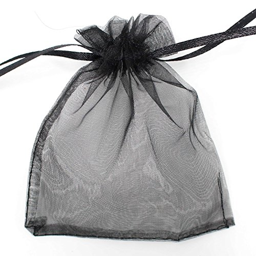 Smiti オーガンジー 巾着袋 ジュエリー 小物 収納袋 プレゼント ラッピング 11X16cm ブラック