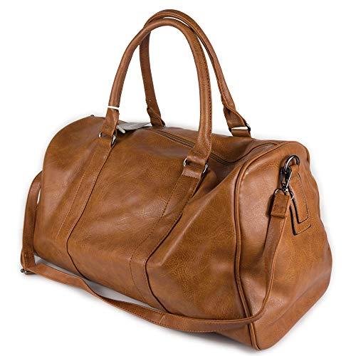 Borsone color cuoio vintage da viaggio uomo con tracolla borsa palestra grande dottore lavoro valigia voli aereo di ecopelle Donna Weekend Sportiva per Vacanza campeggio x Sport eco pelle xl Cuoio