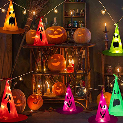 Halloween Witch Hat Lights Decorations - 35Ft 101 LEDs 8 PCS Witch Hats Halloween Lights Decorations, 2 Lighting Modes Battery-Powered String Lights, Halloween Lights for Party Patio Indoor Outdoor