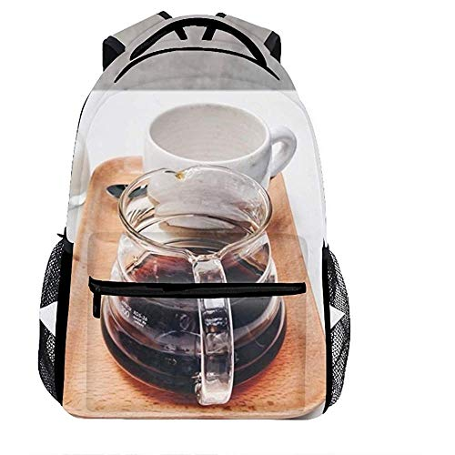 An Green Frühstück gebraut Kaffee Schule Bookbags für Mädchen, süße lässige Rucksack College Taschen Frauen Daypack Reisetasche