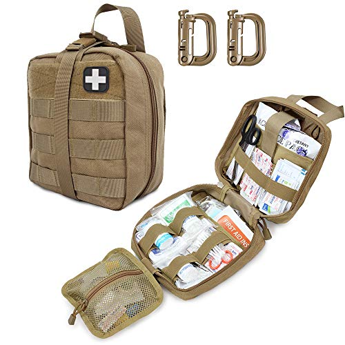 Tactical First Aid Pouch, Molle EMT Pouches Rip-Away Military IFAK Medical Bag Outdoor Emergency Survival Kit Quick Release Design Include Red Cross Patch-Khaki