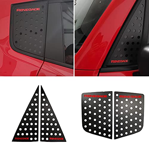 Car Aluminum Alloy Red Window Covers Decorative Trims for Renegade 2016-2021