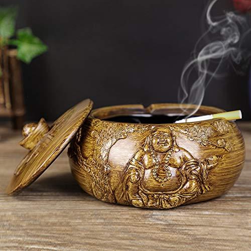 WYBFBYQ Sigarettenasbak met deksel en wastafel, ashouder voor rokers, tafelhars asbak voor thuiskantoor buiten binnen 16×7 cm