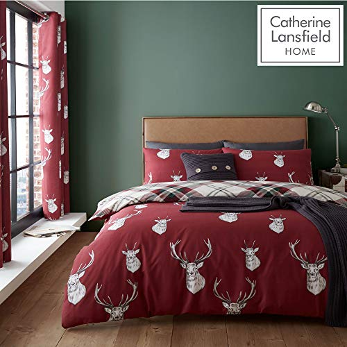 Catherine Lansfield Munro Stag Check Easy Care King Duvet Set Red