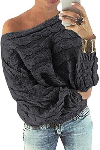 YOINS Schulterfrei Oberteile Damen Herbst Winter Off Shoulder Pullover Pulli für Damen Aktualisierung-dunkelgrau S