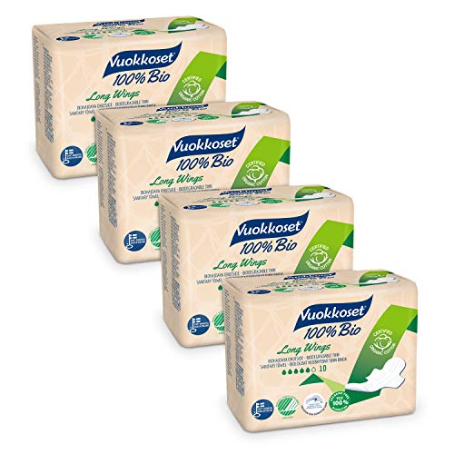 Compresas Maxi Vuokkoset 100% ecológicas, Biodegradables, Algodón orgánico - Multipack de 4x10 unidades