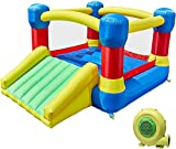TURFEE Bounce House with Slide, Inflatable Jump Bouncer with Heavy-Duty Blower and Repair Patches for Kids, Indoor Outdoor Family Backyard Party, 138x 106 x 73 (3-8 Years)