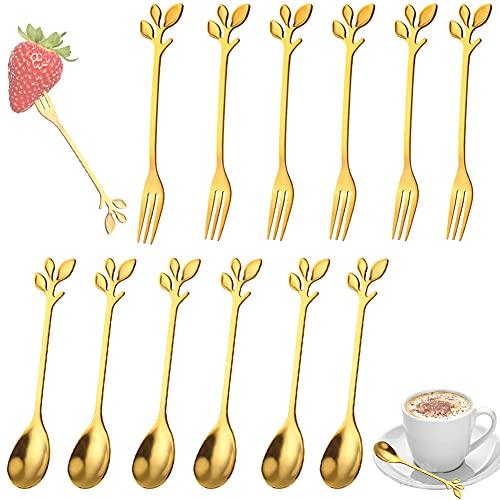 Mini Cucharillas De Café , 12 Piezas Cucharillas De Café y Tenedores, Acero Inoxidable,Dorado