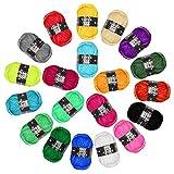 Pack de 20 Madejas Hilo de tejer/Hilo Acrilico - Perfecto para Crochet y Tejer -...