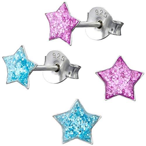 2 Paar JAYARE Kinder-Ohrringe Sterne 925 Sterling Silber Glitzer blau pink Mädchen-Ohrstecker