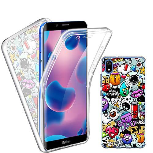 Funda para Xiaomi Redmi 7A, Transparente TPU Silicona + PC Ingles Silicona 2 en 1 360°Full Body Anti-Arañazos Protectora Carcasa Case Cover para Xiaomi Redmi 7A