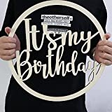 Haimimall It's My Birthday Wooden Sign Photo Booth Prop Wood Sign Birthday Decorations Porch Sign Decorative Hanging Wood Sign Birthday Home Door Wall Decorations