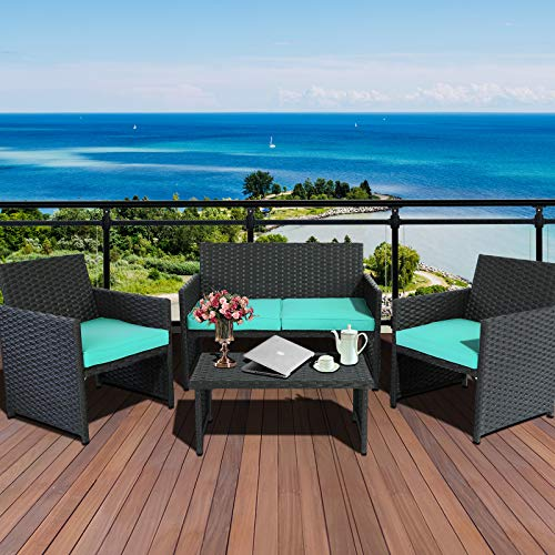 4-Piece Wicker Furniture Set Outdoor Patio Rattan Conversation Sofa & Armchair with Table Turquoise Cushion