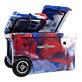 WYLD 50 Quart Dual-Compartment Insulated (Red, White & Blue) Cooler w/Wheels & Tap Kit! Aerator Port Kit & Rod Holder Available for Camping Fishing Boating & Tailgating