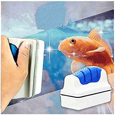 pattnse Aquarium Cleaner Fish Tank Magnetic Double Sides Brush, Glass Cleaner Brush Floating Cleaning Equipment Magnet Window Wall Cleaning Tool, Streamlined Accessories for All Kinds of Tank