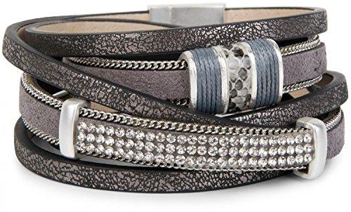 styleBREAKER Bracciale Vintage con Strass, Catena Scorrevole e Chiusura Magnetica, a 3 File, Bracciale, Donna 05040024, Colore:Antico-Grigio Scuro