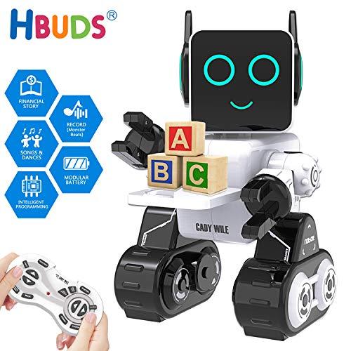 HBUDS Fernbedienung RC Roboter für Kinder, Wiederaufladbare Touch Sound Control Robotik Spielzeug, Walking Singen Tanzen Pädagogische Robot Kit für Jungen Mädchen