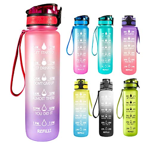 KingSmonk Motivational Sports Water Bottle - 32oz BPA Free Tritan Drink Bottle with Filter & Time Marker Helps You Hydrate - Fast Flow, Flip Top Leak Proof Lid with One Click Open Pink-Purple