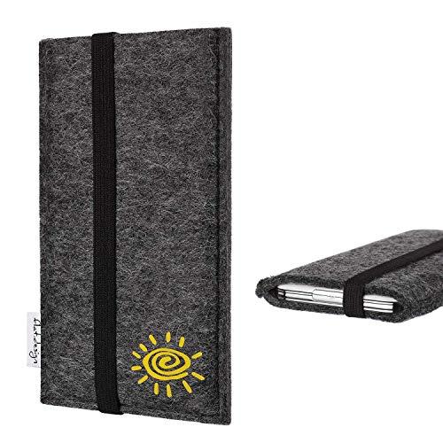 flat.design vegane Handyhülle Lisboa kompatibel mit Huawei P8 Lite 2017 Dual SIM - Smartphone-Tasche aus pflanzlichen Filz mit Motiv Sonne - Handytasche Handmade in Germany