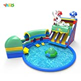 YARD Large Inflatable Water Park with Water Slide Tunnel Disco Boat Pool