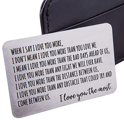 Wallet Insert Card Anniversary Gifts For Men Husband From Wife Girlfriend Boyfriend Birthday Gifts Metal Mini Love Note Valentine Wedding Gifts For Groom Bride Him Her Deployment Gifts