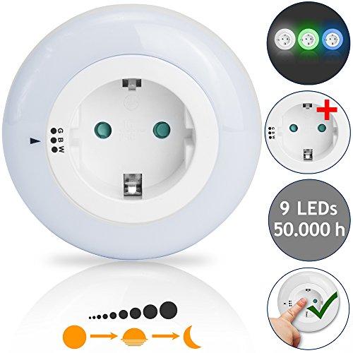 I Glow LED Nachtlicht 3 Farben 9 LEDs Dämmerungssensor Kindersicherung Steckdosenlicht Orientierungslicht