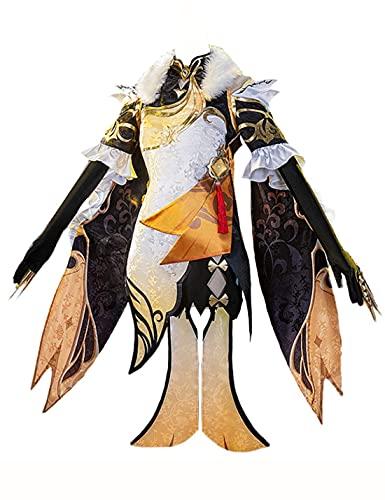 HUANDE Lolita Juego de Vestidos Genshin Impact NINGGUANG Cosplay Disfraz Lolita Vestido Cheongsam Conjunto completo Halloween Elegante Regalo de Cumpleaños para Mujeres, Negro, XL