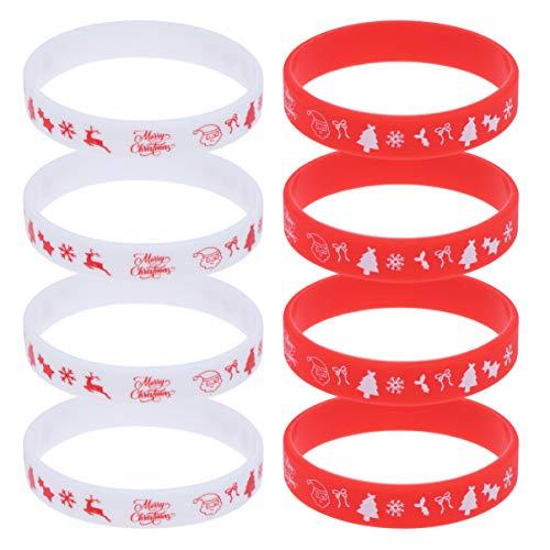 STOBOK 8 stücke Weihnachten Armband silikon Weihnachten Gummi armbänder Armband armreif Geschenk für Kinder Erwachsene Stocking Stuffers (zufällige Muster und Farbe)