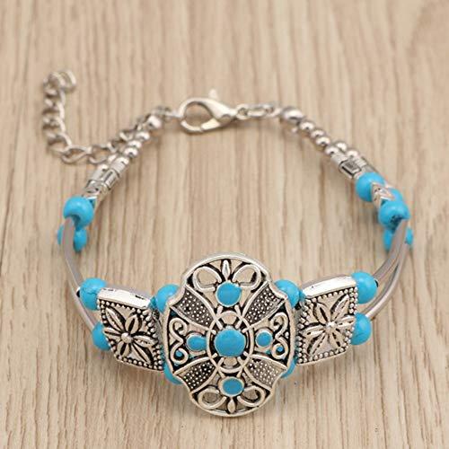 BohoNaturstein Perlen Blume Armbänder Vintage Geschnitzte Armbänder & Armreifen Für Frauen Tribal Schmuck